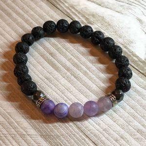 Lava and lavender stretchy bracelet